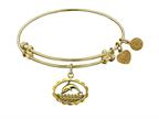 "Antique Yellow Smooth Finish Brass ""dolphin"" Angelica Expandable Bangle Style number: GEL1021"