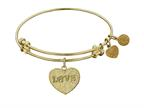 """Angelica Collection Non-antique Yellow Stipple Finish Brass """"love W/ Paw"""" Expandable Bangle Style number: GEL1028"""