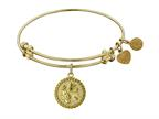 """Angelica Collection Non-antique Yellow Stipple Finish Brass """"golf"""" Expandable Bangle Style number: GEL1045"""