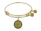 "Antique Yellow Smooth Finish Brass ""flower Of Life"" Angelica Expandable Bangle Style number: GEL1056"