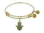 "Angelica Collection Antique Yellow Stipple Finish Brass ""hamsa"" Expandable Bangle Style number: GEL1123"