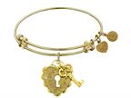 "Non-antique Yellow Stipple Finish Brass ""key To My Heart"" Angelica Expandable Bangle Style number: GEL1216"