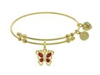 Angelica Collection Brass With Yellow Butterfly Charm With Red and White CZ'z On Yellow Bangle Style number: GEL1394