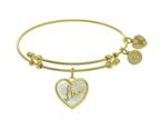 "Angelica Collection Brass With Yellow ""love"" Heart Charm With Created Mother Of Pearl On Yellow Bangle Style number: GEL1408"