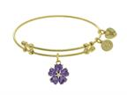 Angelica Collection Brass With Yellow 5-heart Flower Charm With Purple CZ+small Center White CZ On Yellow Bangle Style number: GEL1431