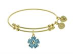 Angelica Collection Brass With Yellow 5-heart Flower Charm With Lite Blue+small Center White CZ On Yellow Bangle Style number: GEL1432