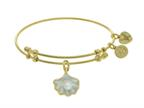Brass With Yellow Shell Pearl Enamel Charm On Yell Ow Angelica Collection Bangle Style number: GEL1610