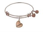 "Angelica Antique Pink Stipple Finish Brass ""daughter Heart"" Expandable Bangle  Complementing Pgel1004 Style number: PGEL1005"