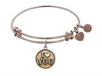 "Antique Pink Stipple Finish Brass ""I Love You"" Angelica Expandable Bangle Style number: PGEL1011"