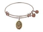 "Angelica Collection Antique Pink Stipple Finish Brass ""a Mother's Love "" Expandable Bangle Style number: PGEL1016"