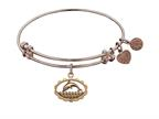 "Antique Pink Smooth Finish Brass ""dolphin"" Angelica Expandable Bangle Style number: PGEL1021"