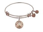 "Angelica Non-antique Pink Stipple Finish Brass ""apple; Teach, Inspire"" Expandable Bangle Style number: PGEL1036"