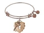 "Non-antique Rose Stipple Finish Brass ""key To My Heart"" Angelica Expandable Bangle Style number: PGEL1216"