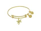 Angelica Collection Yellow Finish Expandable Tween Brass Bangle With D Ragonfly Charm With Cubic Zirconia In Yellow Fini Style number: TGEL9105