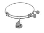 "Angelica Antique White Stipple Finish Brass ""daughter Heart Expandable Bangle  Complementing Wgel1004 Style number: WGEL1005"