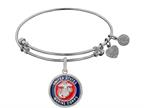 Brass with White Finish Enamel U.S. Marine Corps Round Angelica Expandable Bangle Style number: WGEL1281