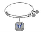 Brass with White Finish U.S. Air Force Enamel Symbol Angelica Expandable Bangle Style number: WGEL1294