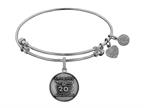 Angelica Collection Brass with White Finish Friends 20th Anniversary Charm Expandable Bangle Style number: WGEL1305
