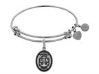Angelica Collection Brass with White Finish Proud Mom U.S. Navy Oval Expandable Bangle Style number: WGEL1314