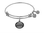 Angelica Collection Brass with White Finish U.S. Navy Honor. Courage. Commitment. Expandable Bangle Style number: WGEL1320