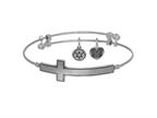 Brass with White Finish Sideways Cross Angelica Expandable Bangle Style number: WGEL1337