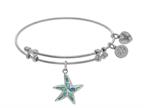 Angelica Collection Brass With White Created Opal Starfish Charm On White Bangle Style number: WGEL1438
