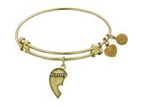 "Antique Yellow Stipple Finish Brass Left-half Heart ""sisters"" Angelica Expandable Bangle"