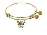 "Antique Yellow Smooth Finish Brass ""grand Daughter"" Angelica Expandable Bangle style: GEL1009"