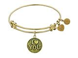 "Antique Yellow Stipple Finish Brass ""I Love You"" Angelica Expandable Bangle style: GEL1011"
