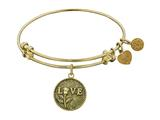 "Antique Yellow Stipple Finish Brass ""love W/rose""  Angelica Expandable Bangle"