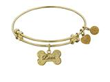 "Non-antique Yellow Stipple Finish Brass ""bone With Love"" Angelica Expandable Bangle style: GEL1015"
