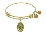 "Antique Yellow Stipple Finish Brass ""a Mother`s Love"" Angelica Expandable Bangle style: GEL1016"