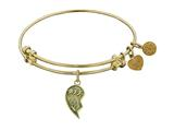 "Antique Yellow Stipple Finish Brass Right-half Heart ""best Friends Forever"" Angelica Expandable Bangle"