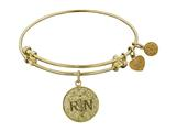 "Non-antique Yellow Stipple Finish Brass ""registered Nurse"" Angelica Expandable Bangle style: GEL1025"