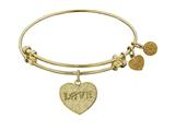 "Non-antique Yellow Stipple Finish Brass ""love W/ Paw"" Angelica Expandable Bangle style: GEL1028"