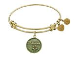 "Angelica Antique Yellow Stipple Finish Brass ""grandma"" Expandable Bangle style: GEL1029"