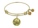 "Antique Yellow Stipple Finish Brass ""rain"" Angelica Expandable Bangle"