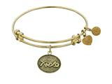"Antique Yellow Stipple Finish Brass ""hugs and Kisses"" Angelica Expandable Bangle style: GEL1040"