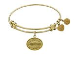 "Angelica Non-antique Yellow Stipple Finish Brass ""godmother"" Expandable Bangle style: GEL1041"