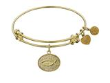 "Angelica Collection Non-antique Yellow Stipple Finish Brass ""christian Fish"" Expandable Bangle style: GEL1048"