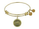 "Angelica Antique Yellow Stipple Finish Brass ""aunt"" Expandable Bangle style: GEL1049"