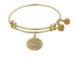 "Angelica Non-antique Yellow Stipple Finish Brass ""niece"" Expandable Bangle style: GEL1050"