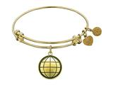 "Antique Yellow Smooth Finish Brass ""earth"" Angelica Expandable Bangle"