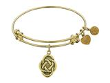 "Antique Yellow Stipple Finish Brass ""celtic Oval Knot"" Angelica Expandable Bangle"