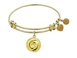 "Non-antique Yellow Stipple Finish Brass ""yin And Yang"" Angelica Expandable Bangle"
