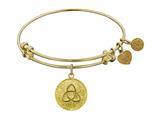 "Non-antique Yellow Stipple Finish Brass ""triquetra "" Angelica Expandable Bangle"