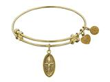 "Angelica Collection Non-antique Yellow Smooth Finish Brass ""cross In Oval"" Expandable Bangle style: GEL1079"