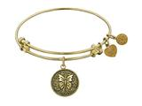 "Antique Yellow Stipple Finish Brass ""butterfly"" Angelica Expandable Bangle style: GEL1081"