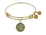 "Antique Yellow Stipple Finish Brass ""saint Christopher"" Angelica Expandable Bangle"