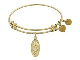"Non-antique Yellow Stipple Finish Brass ""cat"" Angelica Expandable Bangle style: GEL1095"